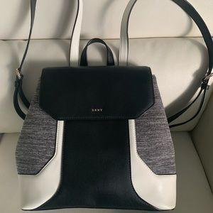 DKNY Jade Medium Flap Black Leather Back Pack